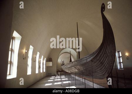 Oseberg Viking Ship in Vikingskiphuset museum Bygdøy Oslo Norway  JMH0922 - Stock Photo