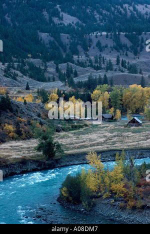 Cariboo Chilcotin Coast Region, BC, British Columbia, Canada - Old Historic Homestead along Chilcotin River in Farwell - Stock Photo