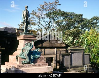 dh Scottish American monument CALTON CEMETERY EDINBURGH War soldiers memorial scotland graveyard old burial ground - Stock Photo