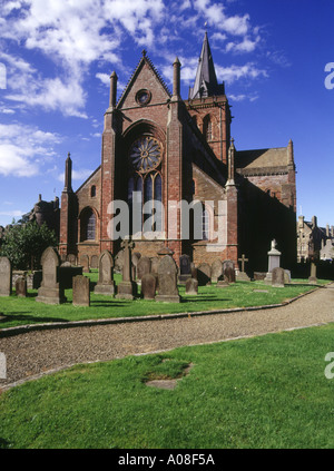 dh St Magnus Cathedral KIRKWALL ORKNEY Graveyard cemetery Norse Viking red and yellow sandstone cathedral saint - Stock Photo