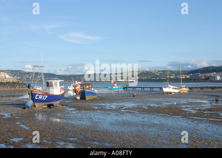 Moored Boats Harbour Rhos on Sea North East Wales - Stock Photo