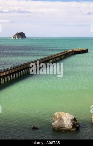 New Zealand s longest pier Tolaga Bay Eastland New Zealand - Stock Photo