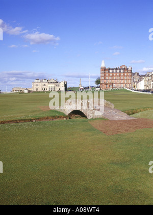 dh Golf ST ANDREWS FIFE Swilcan bridge across burn eighteenth fairway Royal and Ancient course scotland 18 old