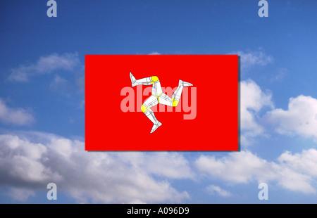 Flag of Man isle of Man united kingdom great britain - Stock Photo