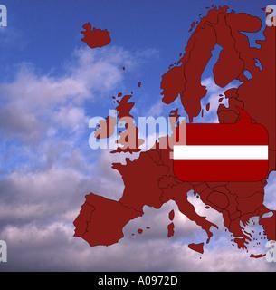 Europe map and flag of Latvia - Stock Photo