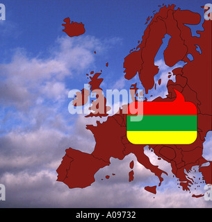 Europe flag and map of Lithuania - Stock Photo