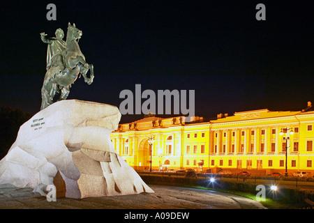 Sankt Petersburg, Eherner Reiter bei Nacht, Russia St Petersburg at night - Stock Photo