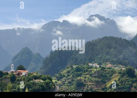 Portugal, Madeira, view of mountains from Sao Roque de Faial towards Pico Arieiro - Stock Photo