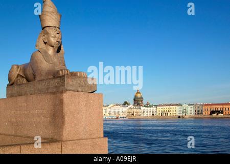 Sankt Petersburg, Sphinx am Newaufer, Egyptian Sphinx on river Neva's margin, St Petersburg, Russia - Stock Photo