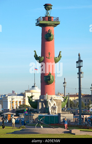 Sankt Petersburg, Rostrasaeule an der Strelka, One of the two Rostral Columns on Vasilevsky Island St Petersburg - Stock Photo