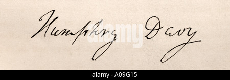 Signature of Sir Humphrey Davy, 1st Baronet, 1778 - 1829. English chemist and inventor of the Davy lamp. - Stock Photo