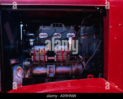 Gardner diesel engine in a vintage Scammell tractor unit - Stock Photo
