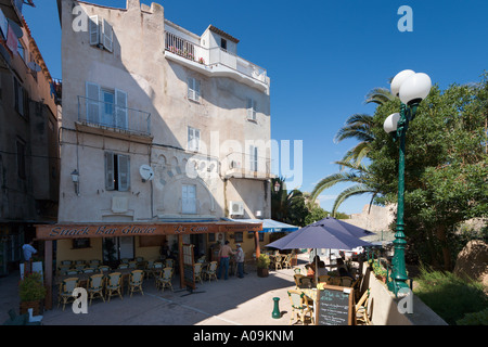 Street cafe in the Haute Ville (Old Town), Bonifacio, Corsica, France - Stock Photo