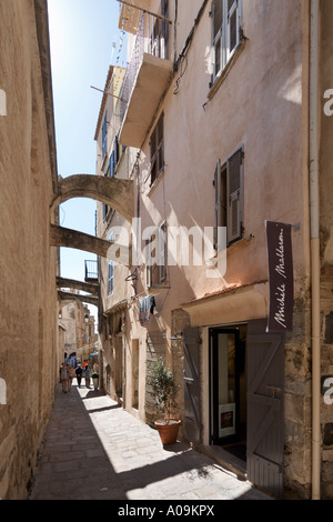 Narrow street in the Haute Ville (Old Town), Bonifacio, Corsica, France - Stock Photo