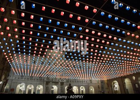 Light installation Tappeto Volante by Daniel Buren Piazza Palazzo di Citta Turin Italy - Stock Photo