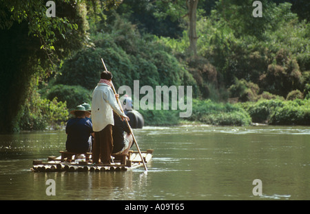 River rafting on the Ping River near Chiang Dao Elephant camp, 37 miles north of Chiang mai, Thailand - Stock Photo