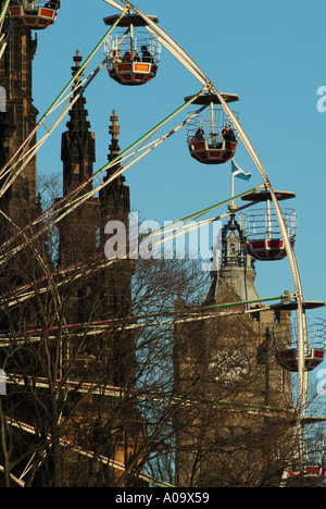 Ferris wheel in East Princes Street Gardens, Edinburgh, Scotland, UK. - Stock Photo