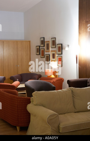 large comfy sofas in a restaurant - Stock Photo