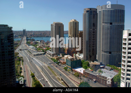 Approaches to Sydney Harbour Bridge, NSW Australia, showing Bradfield Highway, Cahill Expressway and The Rocks - Stock Photo