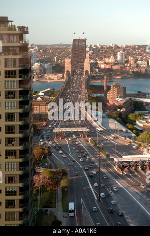 Approach to Sydney Harbour Bridge looking north showing toll station, Bradfield Highway and Cahill Expressway - Stock Photo