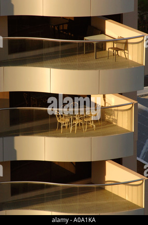 Table and chairs on a hotel apartment, The Rocks, Sydney Australia - Stock Photo
