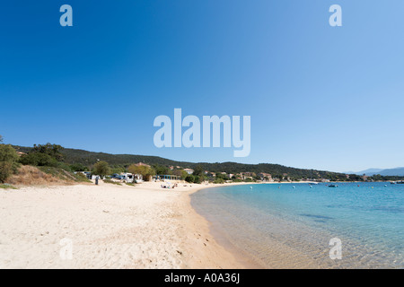 Beach at Porto Pollo, near Propriano, Gulf of Valinco, Alta Rocca, Corsica, France - Stock Photo