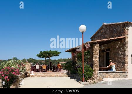 Seafront cafe bar in the resort centre, Tizzano, near Sartene, Corsica, France - Stock Photo