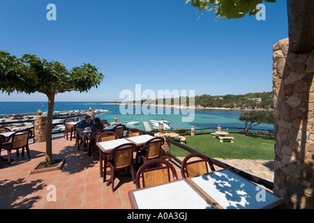 Terrace of a seafront restaurant in the resort centre, Tizzano, near Sartene, Corsica, France - Stock Photo