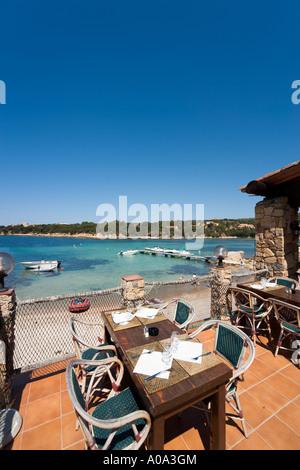Seafront restaurant in the resort centre, Tizzano, near Sartene, Corsica, France - Stock Photo