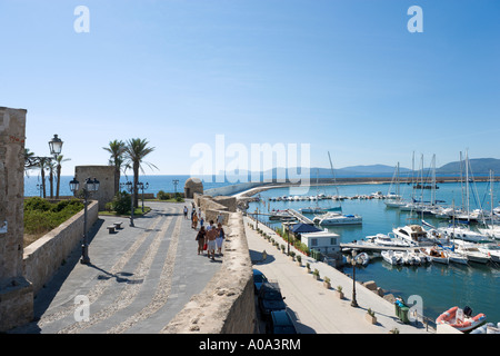 Harbour and Walls of Old Town, Alghero, Sardinia, Italy - Stock Photo