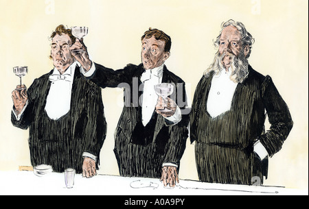 Gentlemen toasting Queen Victoria in England 1890s. Hand-colored woodcut of a Charles Dana Gibson illustration - Stock Photo