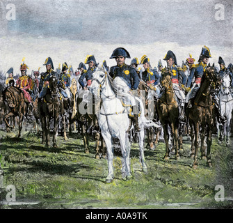 Napoleon and his military staff on the battlefield. Hand-colored halftone of an illustration - Stock Photo