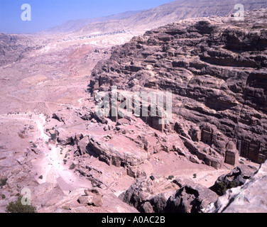 View over the rose red city of Petra Jordan - Stock Photo