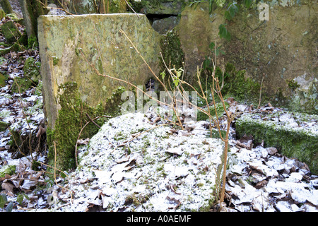 The remains of stone becks for scouring fluids for bleaching cotton at Washwheel Mill in the Cheesden Valley Heywood - Stock Photo