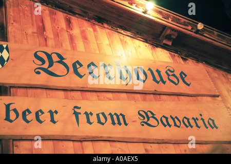 Bavarian Beerhouse at Albert Square Manchesters Christmas Markets UK - Stock Photo