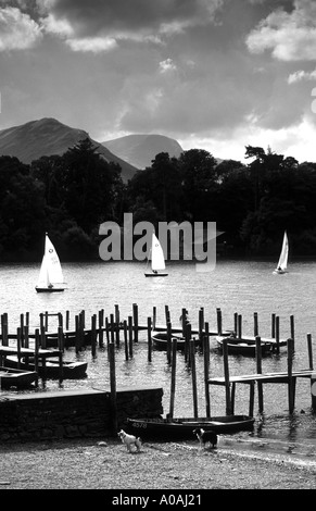 Boats on Derwentwater Lake district with Derwent Island behind mono black and white - Stock Photo