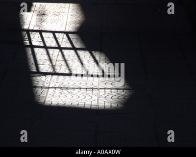 shadow of gate on street - Stock Photo