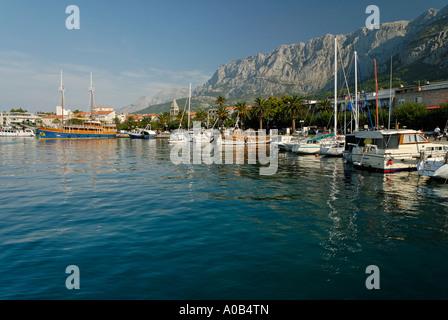 historic city of Makarska at the Biokovo mountains Dalmatia Croatia - Stock Photo
