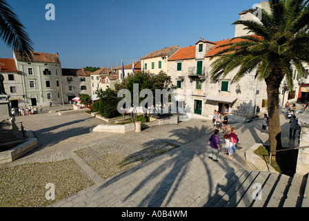 square in the historic city of Makarska at the Biokovo mountains Dalmatia Croatia - Stock Photo