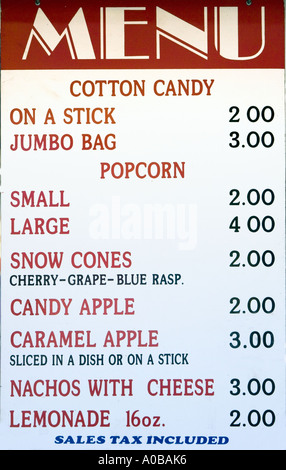 menu of junk food at a carnival stock photo 5680804 alamy