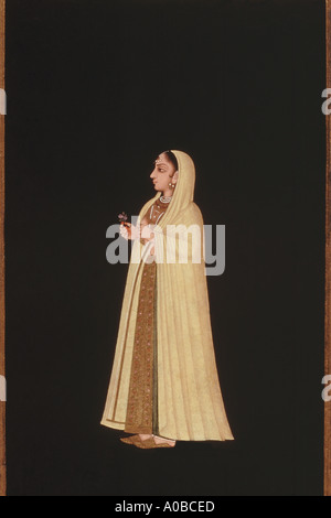 Mughal miniature painting : Young girl dated 1725 A D - Stock Photo