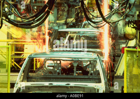 Robots welding on Nissan truck assembly line Smyrna Tennessee We also have a variety of other robot welding pictures - Stock Photo