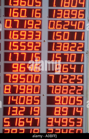 Red numbers on an LED display showing currency exchange rates at a bureau de change - Stock Photo