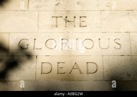The Glorious Dead inscription on the Cenotaph in Whitehall, London, England UK - Stock Photo