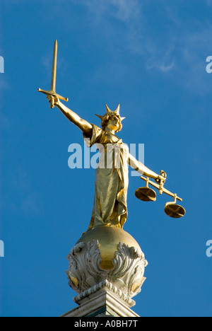 Statue of Lady Justice atop the Old Bailey London England UK - Stock Photo