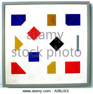 Composition with grey stripe by Bart van der Leck Dutch Painter The Netherlands - Stock Photo