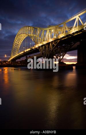 Evening Light on The Runcorn Road Bridge Runcorn Cheshire UK - Stock Photo