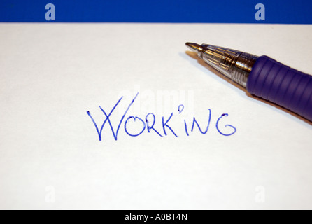 Concept of working formed by letters and a pen Captured in Oslo Norway October 2006 - Stock Photo