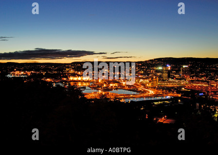 Oslo the capitol of Norway captured on a september evening from a height south of the city - Stock Photo