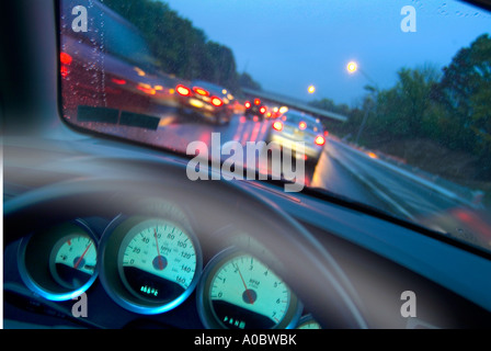 View Of Cars On Highway From Drivers Perspective With Steering Wheel, Dashboard  And Motion Blur, Philadelphia, - Stock Photo